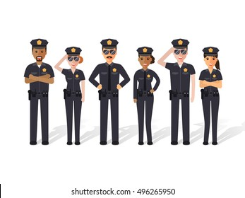 Group of police officers, police man and police woman, cops. Flat design people characters.