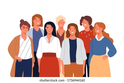 Group portrait of adorable young smiling woman posing together vector flat illustration. Colorful female business team isolated on white background. Funny cute office workers or colleagues.