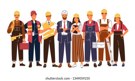 Group portrait of cute happy industry or construction workers, engineers standing together. Team of smiling male and female employees wearing hard hats and uniform. Flat cartoon vector illustration.