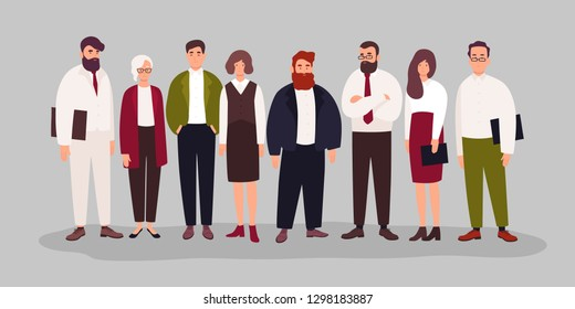Group portrait of cute happy office workers, managers or clerks standing together. Team of smiling male and female employees or colleagues. Colorful vector illustration in flat cartoon style.
