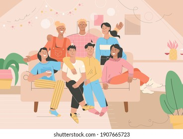 Group portrait of friends at home party. Men and women sitting on couch, smiling, hugging each other, celebration holidays, spending time together. Vector character illustration of friendship concept