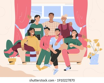 Group portrait of friends meeting at home. Men and women sitting on couch, smiling, hugging each other and spending time together. Vector character illustration of relationships, friendship concept