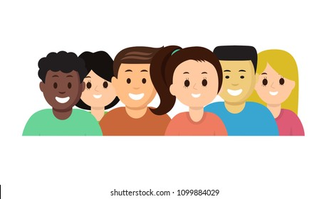 Group portrait of happy laughing boys and girls different nationalities in colorful clothes vector illustration. Flat style design. Isolated on white background