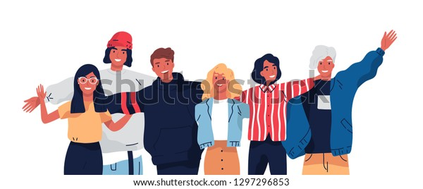 Group portrait of smiling teenage boys and girls or school friends standing together, embracing each other, waving hands. Happy students isolated on white background. Flat cartoon vector illustration.