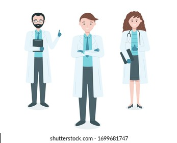 Group of professional doctors. Male and female medicine workers. Cartoon doctors characters in medical team concept. Vector illustration in flat style.