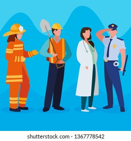 group of professional workers characters