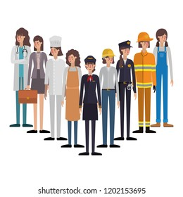 group of professionals avatar character