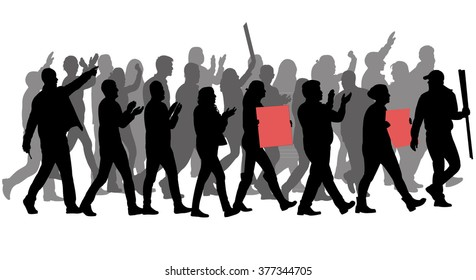 group of protester silhouette