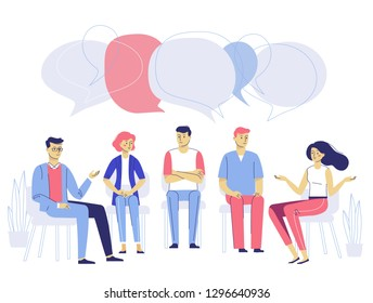 Group psychotherapy counseling concept. Psychologist and young man and woman patients in therapy session. Treatment of stress, addictions and mental problems.