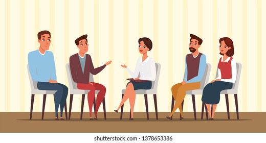 Group psychotherapy flat vector illustration. People at psychology meeting cartoon drawing. Man, woman characters talking with family psychologist. Friends sitting together in room