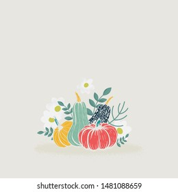 Group of pumpkins of different shapes and colors decorated with branches, leaves and flowers. Simple autumn composition for cards or design.