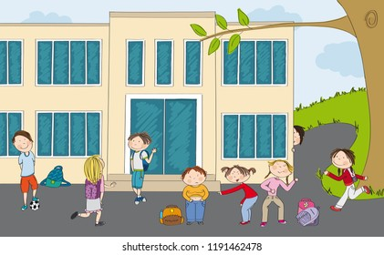 Group of pupils in front of the school. Boy with ball, teenage boy meeting his girlfriend, little girls bullying poor fat boy, boy hiding behind the school building and girl running to the school.