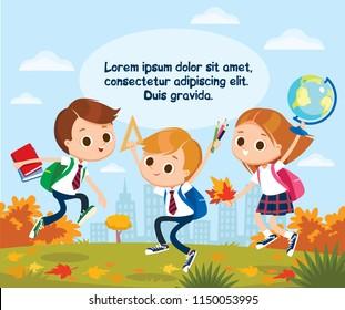 Group of pupils jumping together, holding holding books, pencils, ruller, globe. Autumn landscape background. Vector illustration. Flat design.