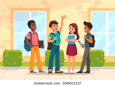Group of pupils mix race. Happy school children with backpack  standing and talking on school building background. Vector illustration in cartoon style.