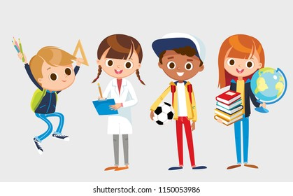 Group of pupils is standing and jumping together, holding books, pencils, ruller, globe, ball. Vector illustration. Flat design.