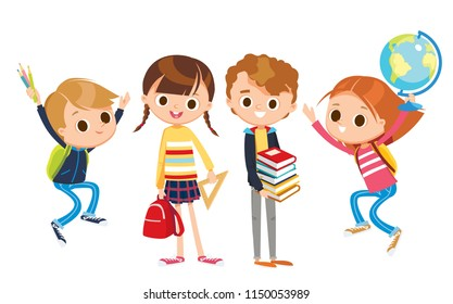 Group of pupils is standing and jumping together, holding books, pencils, ruller, globe. Vector illustration. Flat design.