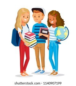Group of pupils standing together, holding books and globe. Vector illustration. Flat design.