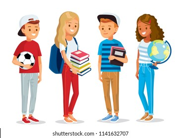 Group of pupils standing together, holding books,  globe and ball. Set of pupils. Vector illustration. Flat design.