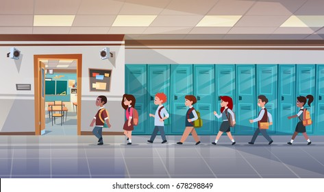 Group Of Pupils Walking In School Corridor To Class Room, Mix Race Schoolchildren Flat Vector Illustration