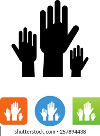 Group of raised hands / Election / Question icon
