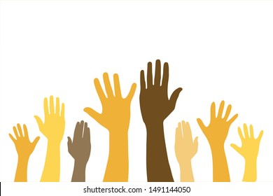 group of raised hands on white background