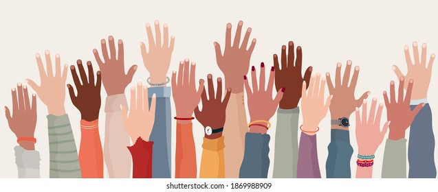 Group raised human arms and hands.Diversity multiethnic people. Racial equality. Men and women of different culture and nations. Coexistence harmony. Multicultural community integration - Shutterstock ID 1869988909