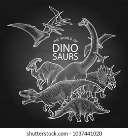 Group of realistic graphic dinosaurs. Vector prehistoric animals drawn in engraving technique