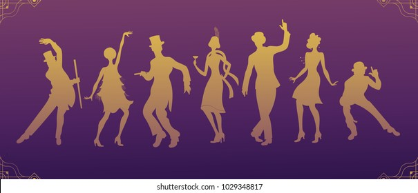 Group of retro woman and man gold silhouette dancing. Vintage style.retro silhouette dancer.1920 party vector background.Swing dance