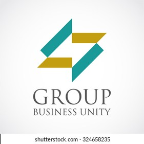 Group of ribbon connection abstract vector and logo design or template business unity icon of company identity symbol concept