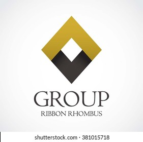 Group ribbon of rhombus abstract vector and logo design or template elegant square business icon of company identity symbol concept