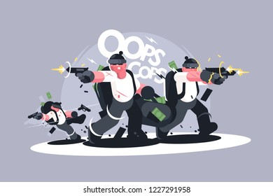 Group of robbers in masks with weapons. Criminals running away with money and shooting back vector illustration. Thieves committing theft and pursued by police flat style design. Oops Cops lettering