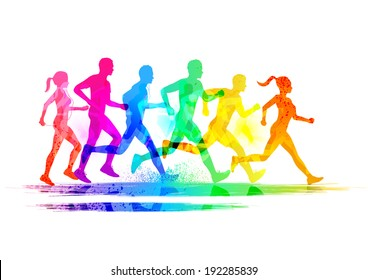 Group Of Runners, men and women running to keep fit. Vector illustration.