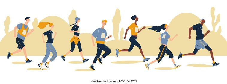 Group of running men and women in sportswear at marathon race.  Marathon race, 5k run, sprint. Flat cartoon vector illustration on white background. Creative landing page design template, web banner.