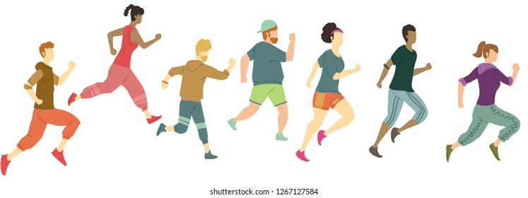 group of running people vector illustration with flat style design
