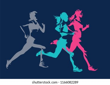Group of running women, abstract isolated vector silhouettes. Side view. Marathon runners