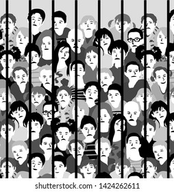 Group sad kids bars of juvenile justice in orphanage black and white