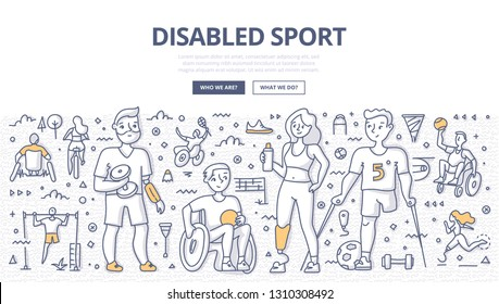 Group of satisfied athletes with physical disabilities from different sports. Concept of inclusive and disabled sports. Doodle illustration for web banners, hero images, printed materials
