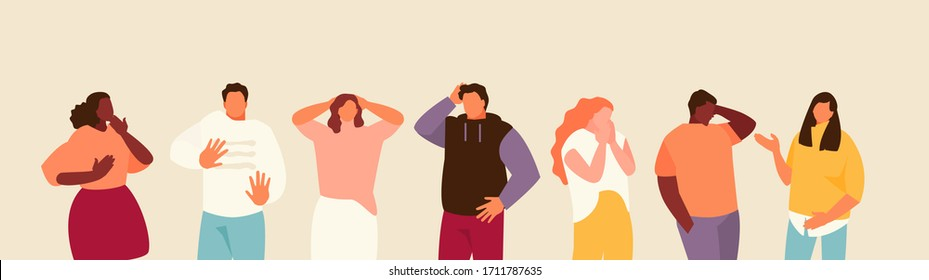 Group of scared people expressing fear, anxiety and panic. Vector illustration