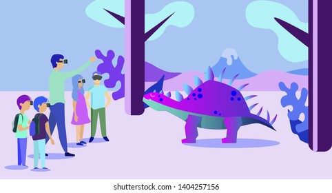 Group of School Kids in VR Glasses Watch Prehistoric Predator Stegosaurus Dinosaur at Virtual Augmented Reality Paleontology Museum, Excursion with Teacher. Filed Trip Cartoon Flat Vector Illustration