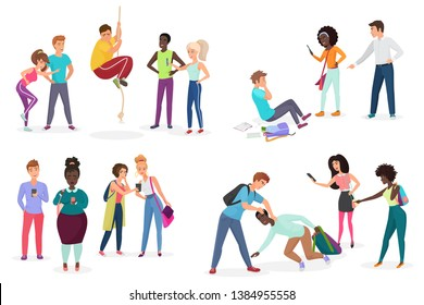 Group school students bullying their group mates. People discrimination, racism and negative communication in school and society concept vector illustration.