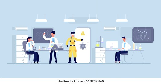 Group of scientists conducting experiments in science laboratory. Scientists chemical researchers working with lab equipment. Scientific research, medical virus lab, biology molecular. Vector