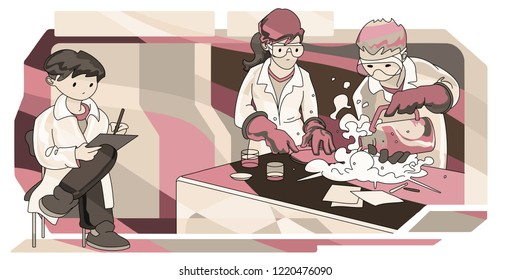 Group of scientists conducting liquid nitrogen experiment in a lab. Hand drawn vector Illustration.