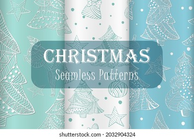 Group of Seamless Patterns with Christmas Trees, Toys, China Zodiac Pig made in Zentangle Style. Seamless Pattern for Holiday Packaging, Fabrics, Web and Mobile Usage.