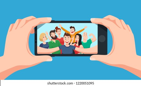 Group selfie on smartphone. Photo portrait of friendly youth team, friends make photos on phone camera or teenage character taking friendship selfies on telephone. Cartoon vector illustration