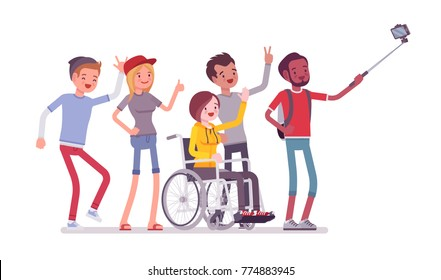Group selfie and young people. Self-portrait photograph taken with phone stick camera, girl with special needs and friends, Inclusion. Vector flat style cartoon illustration isolated, white background