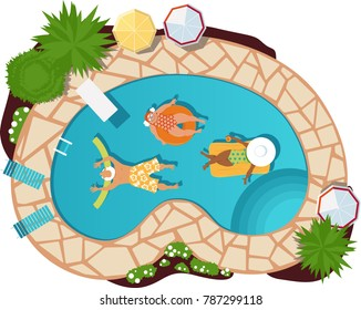 Group of senior citizens relaxing in a pool, view from above, EPS 8 vector illustration