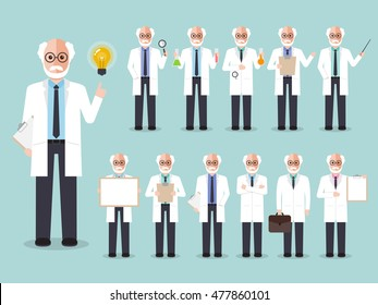 Group of senior male professors, old scientists. Flat design people characters.