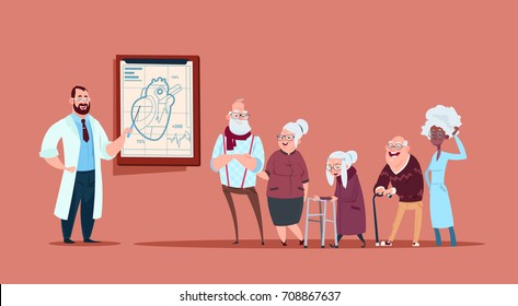 Group Of Senior People On Consultation With Doctor, Pensioners In Hospital Health Care Concept Flat Vector Illustration