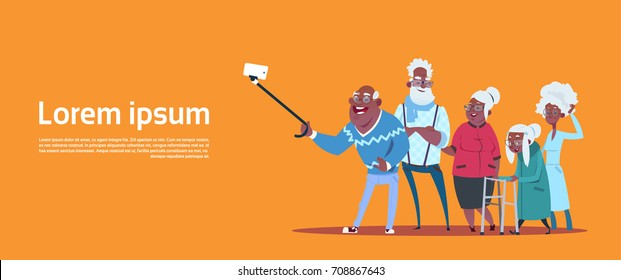 Group Of Senior People Taking Selfie Photo With Self Stick Modern African American Grandfather And Grandmother Flat Vector Illustration