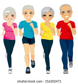 Group of senior runner men and women running together doing exercise to stay healthy